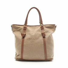 PRADA LOGO JACQUARD logo jacquard tote bag canvas leather beige brown 2WAY