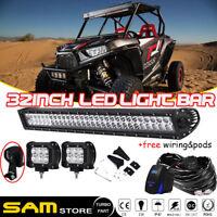 "Straight 32"" 30"" LED Light Bar+Work Light Fit Polaris Ranger RZR XP 1000 900 800"