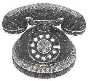 Judith Leiber Evening Bag Dial Ringaling ROTARY Phone Clutch Black NEW