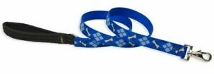 "4' Lupine Dapper Dog Leash 3/4"" Wide Blue Argyle Guaranteed if Chewed USA"