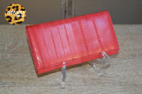 New BOUTIQUE SYDNEY Luxury Watermelon Eel Skin Designer Tri-Fold Wallet ECO CHIC