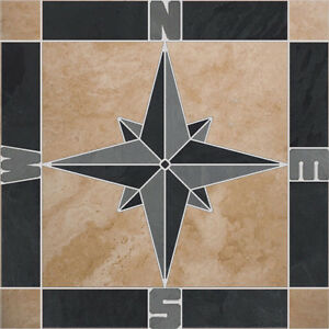 Natural Travertine Slate Square Compass Rose Mosaic Medallion - CHOOSE YOUR SIZE