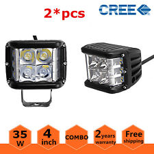 2X 4in 35W Side Shooter Cube Pods CREE LED Work Light Combo Offroad Driving Lamp