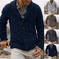 COAT JUMPER WARM CARDIGAN SWEATER OUTWEAR KNITWEAR MENS CHUNKY CABLE KNITTED