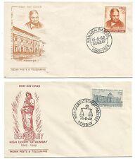 2 FDC 1er jour timbres 1962 INDE Bombay  /L24