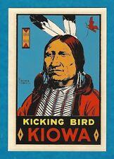 "VINTAGE ORIGINAL 1955 SOUVENIR ""CHIEF KICKING BIRD KIOWA"" TRAVEL DECAL ART NICE"