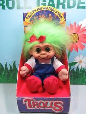 """1992 Girl In Overalls - 11"""" Sky Kids, Inc. Troll Doll- New In Package- Very Rare"""