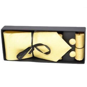 Set cravatta pochette e gemelli in raso giallo confezione regalo per professioni