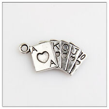 40 Playing cards Tibetan Silver Charms Pendants Jewelry Making Findings EIF026