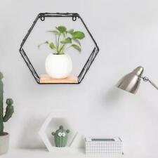 Hexagon Iron Art Style Wooden Wall Hanging Display Rack Shelf Storage Home Decor