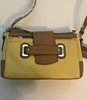 Tignanello Pebble Leather Perfect Pockets Cross Body Yellow/Cognac NWT