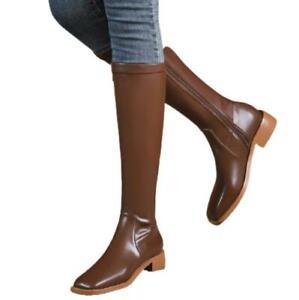 Women's Biker Square Toe Low Heel Side Zipper Mid Calf Knee High Stretch Boots L
