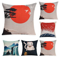 Japanese Cat Cotton Linen Pillow Case Sofa Throw Cushion Cover Home Decor