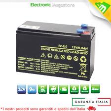 BATTERIA RICARICABILE ERMETICA A PIOMBO 12V 9AH 20HR UPS PLUS USO ELETTRONICO