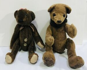 2 Rustic Primitive Antiqued Jointed Bears