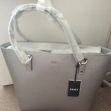 BNWT DKNY Silver Saffiano Leather handbag tote bag