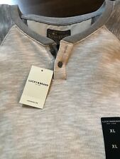 NWT $44.50 Lucky Brand Men's Good Fortune Henley Bone/Gray XL long sleeve