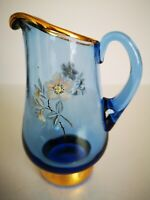 Vintage Cobalt Blue And Gold Glass Jug