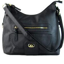 Women Large Ladies Cross Body Bag PU Faux Leather Vintage Shoulder Handbag Strap