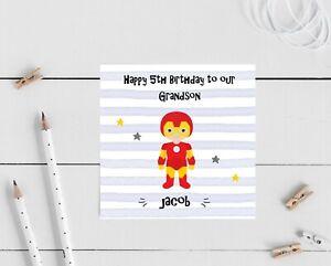 PERSONALISED Superhero Birthday Card Boys Son Nephew Brother