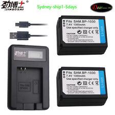 2X BP-1030 BP1030 Battery+LCD1 Charger for Samsung NX2000 NX-300M NX200 NX210