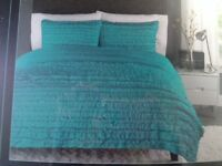 NEW CYNTHIA ROWLEY RUFFLED FARMHOUSE COMFORTER SET FULL QUEEN TURQUOISE TEAL NWT