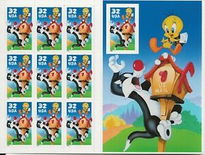 1998 32 cent Sylvester and Tweety Imperf full Sheet of 10 Scott #3205, Mint NH