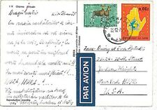 POSTAL HISTORY : postcard from ZAIRE to USA 1975 : ANIMALS