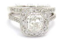 CUSHION CUT ANTIQUE STYLE DIAMOND ENGAGEMENT RING & BAND WEDDING SET C2