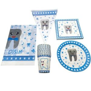 51pcs First Tooth Design Party Supplies Birthday Tableware Set Disposable Baby