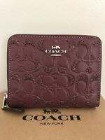 Coach Gift Boxed Small Zip Around Leather Wallet IN Wine Glitter RP $178