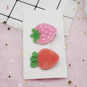 2Pcs/Set Acrylic Strawberry Pineapple Fruit Hairpins Kids Girls Cute Hair Clip