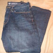 NEW $74 GAP stress dark blue wash STANDARD TAPER jeans MEASURES 36/27 SHORT