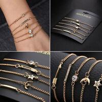 Women 5Pcs/Set Star Moon Crystal Gold Chain Cuff Bracelet Bangle Fashion Jewelry