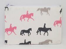 Lovely Horses Horse Riding Fabric Handmade Zippy Coin Money Purse Storage Pouch
