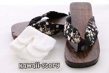 K-G-05 Geta black Japanese Wood Sandal Socks for Kimono Yukata (9 5/8in/Size 38)