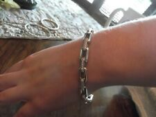 David Yurman Stax Chain Link Bracelet with Diamonds Sterling Silver 4mm Size L