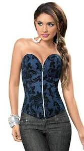 Escante Lingerie Sapphire Sweeheart Zip Front Lace Up Back Corset, Blue, 32