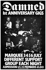 """The DAMNED, 1977 Marquee Gigs 12""""x17"""" Promo Poster"""