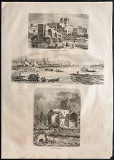 1860 - Napoléon III - Avignon - Pont Saint-Benezet - gravure
