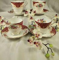 Vintage Paragon Porcelain English Bone China Tea Cups Saucers Rockingham Red Set