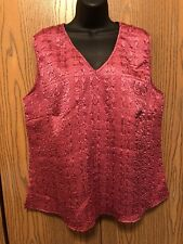 CJ Banks Top Womens Plus Size 1X Sleeveless Pink Crinkle Stretch Satiny Textured