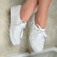 Womens White Lace Trainers Satin Sneakers Bridal Wedding Embellished Flats Comfy