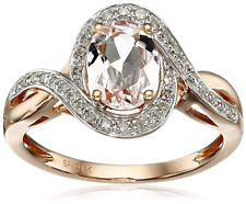 14k Rose Gold Morganite and Diamond (1/6cttw, H-I Color) Oval Ring, Size 7
