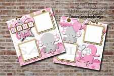 Baby Girl Pink Elephants 2 PRINTED Premade Scrapbook Pages BLJgraves 9