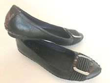 Indigo black leather flats moccasin women's 7.5 metal buckle stitching more cool