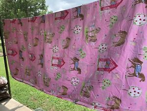 Kids Queen Size Pink Sheet Set Horses Barn Flowers Trees Company Store Cotton