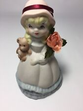 """Southern Belle Dress Ringing Bell Little Girl with Teddy Bear Vintage 4 1/2"""" H"""