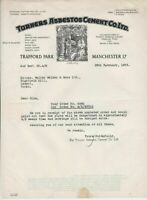 Turners Asbestos Cement Co. Manchester 1953 Illustrated Order Letter Ref 34217