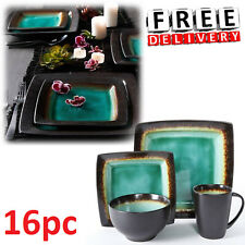 Square Dinnerware Set For 4 16Pcs Stoneware Kitchen Plates Bowls Dishes Mug New